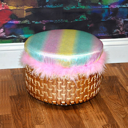 Recycle Gold Pastel Rainbow Tire Ottoman