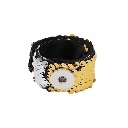 Silver and Gold Sequin Snap and Wrap Bracelet