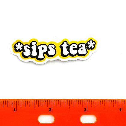 Yellow Sips Tea Vinyl Sticker
