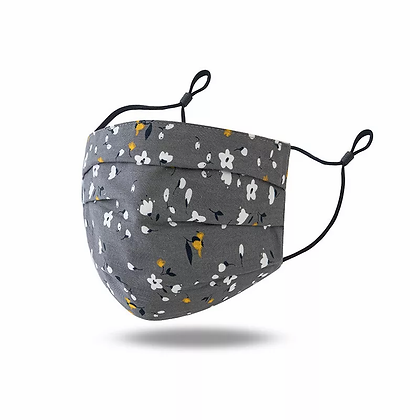 Gray Floral Mask