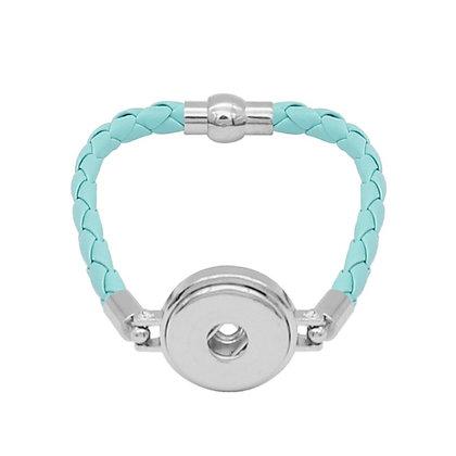 Simple Leather Braided Bracelet Seafoam