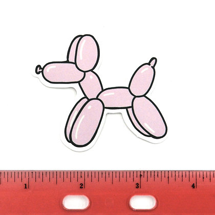Pink Dog Balloon Vinyl Sticker