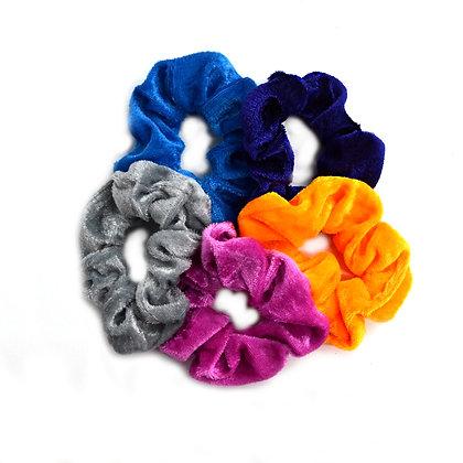 Scrunchies Velvet Orange Pop Set of 5