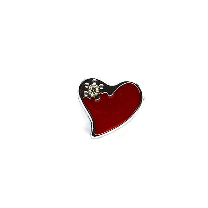 Red Heart with Corner Stone Slider Charm