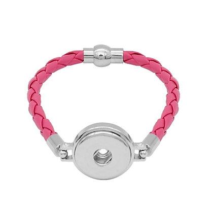 Simple Leather Braided Bracelet Dark Pink
