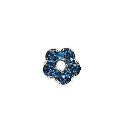 Light Blue Rhinestone Flower Slider Charm