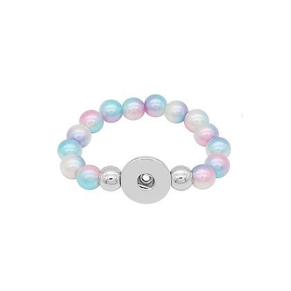 Kids Pastel Rainbow Bead Snap Bracelet