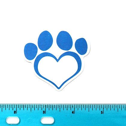 Blue Heart Dog Paw Vinyl Sticker