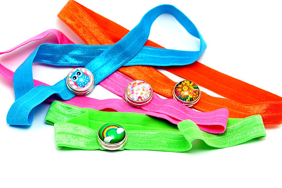 Solid Color Headband With One 18mm Snap Base