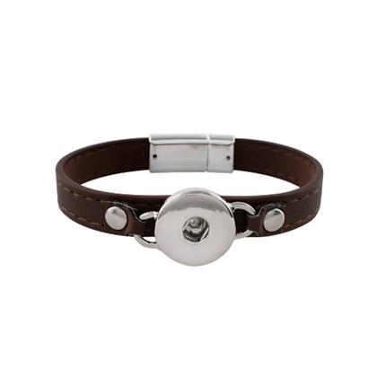 Skinny Leather Brown Snap Bracelet