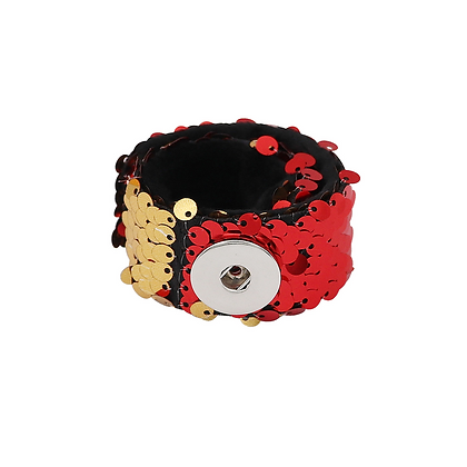 Gold & Red Sequin Snap and Wrap Bracelet