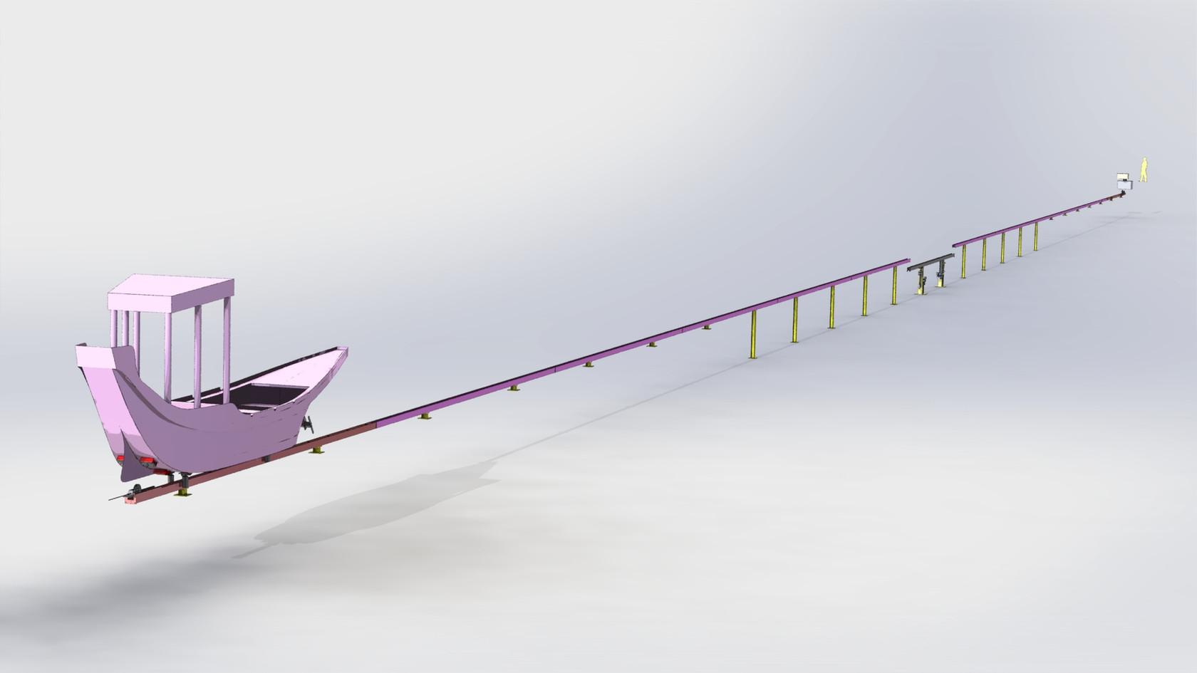 bateau décor sur rails immergés