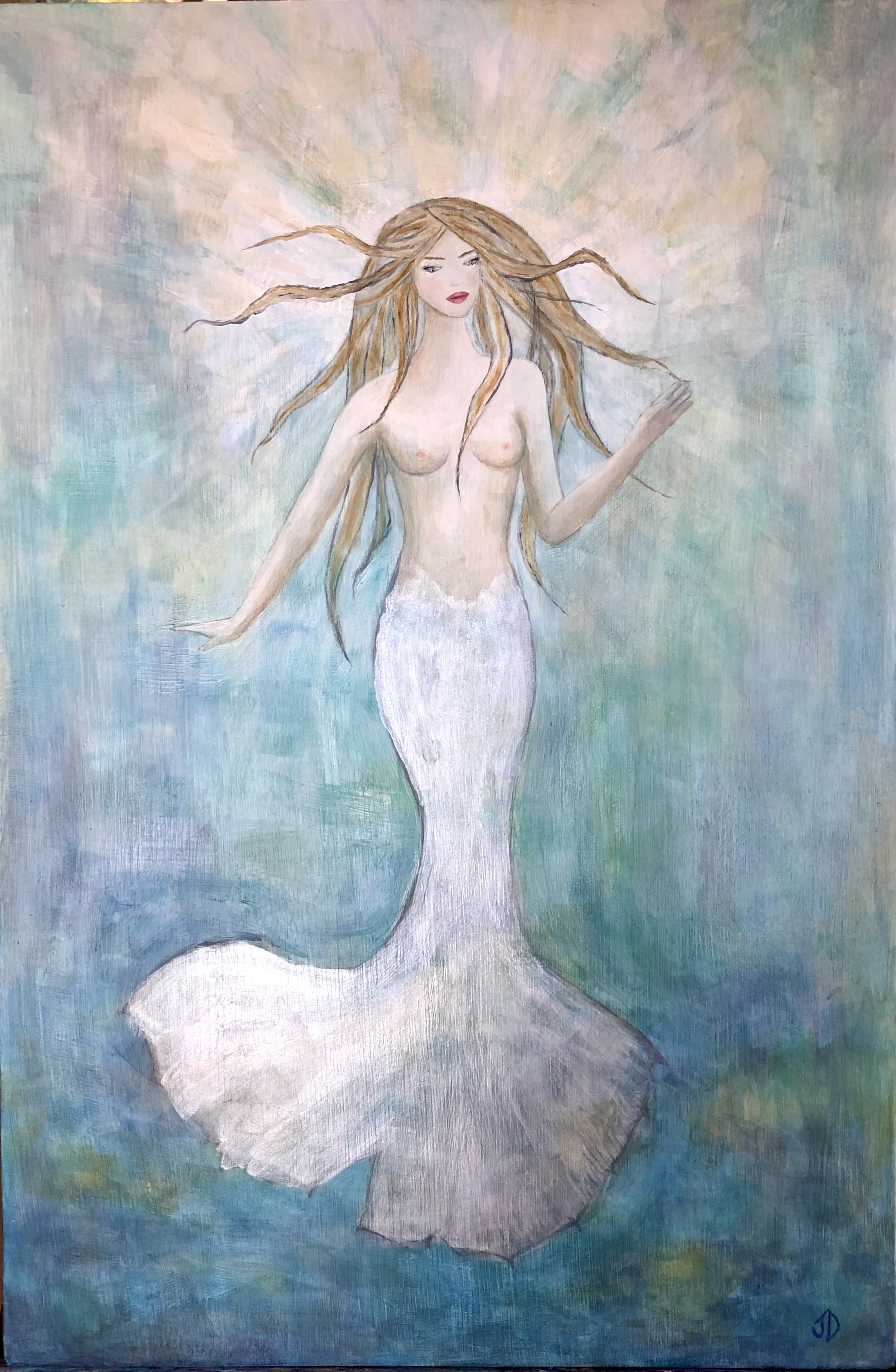 "MY FIRST MERMAID - 14""X21"" acrylic and metallics on wood. Private commission. Sold."
