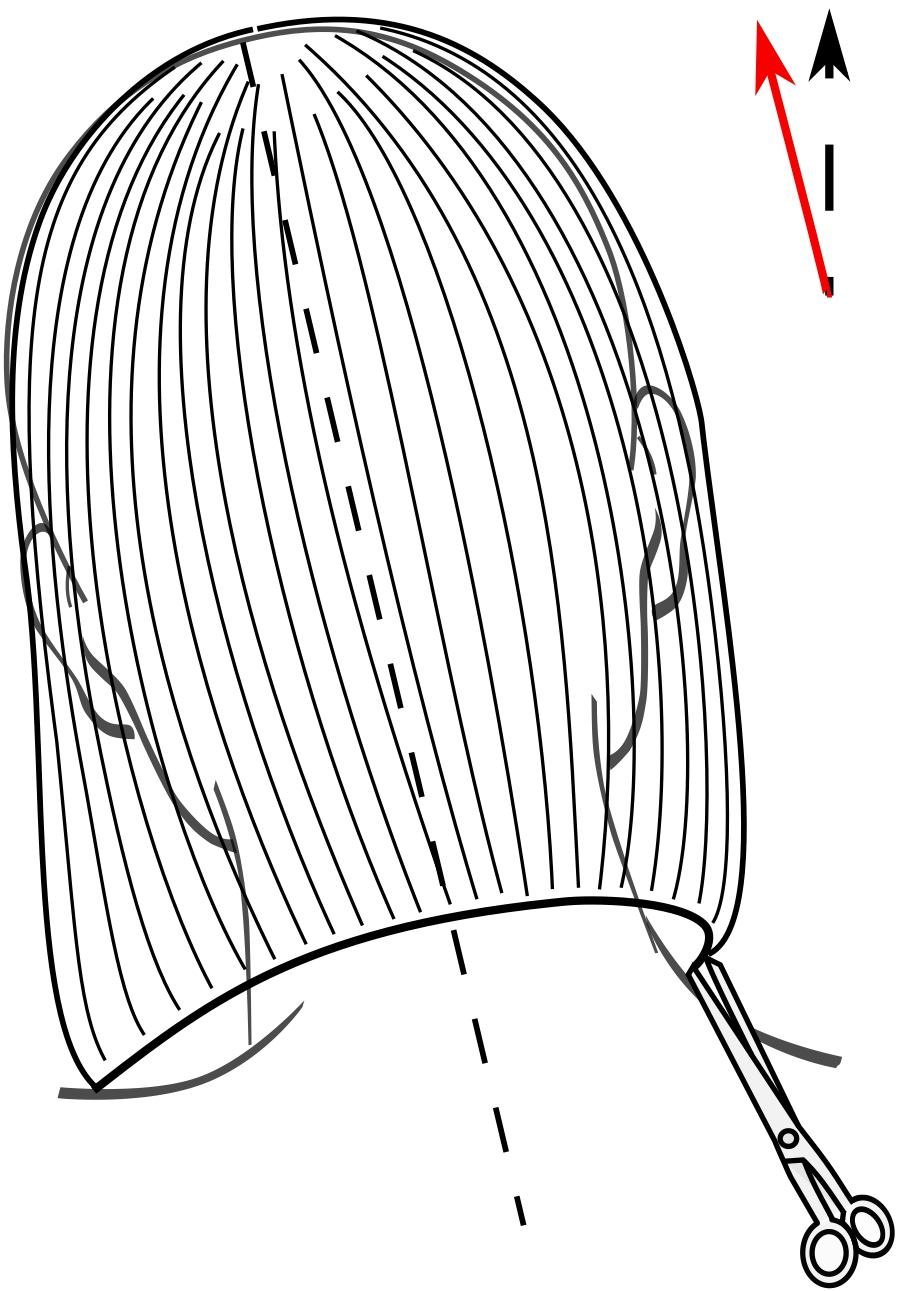 Почистим линию среза, прижимая волосы расчёской к шее на затылке и на расчёске в височно-боковых зонах. Голову модели снова нужно наклонить в сторону, противоположную от линии среза.
