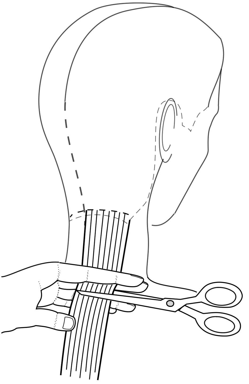 Делаем деление крест накрест через наивысшую точку головы. Голову модели наклоняем вперёд, плечи ровно, ноги не перекрещены. Стрижку начинаем с нижне-затылочной зоны. Дугообразными проборами  выделяем первую прядь справа и слева от центрального вертикального пробора, оттягиваем вертикально вниз и стрижём по коже на уровне середины шеи или с внутренней стороны пальцев параллельно пробору на уровне основания шеи