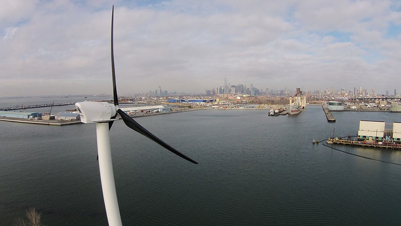 NYC's first commercial wind turbine installed by Aegis Renewable Energy