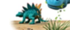 Dinosaur Whack looking back at Dinosaur Munch eating leaves