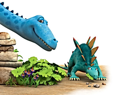 Dinosaur Whack eating leaves watched by Dinosar Munch