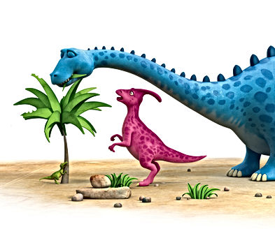 Dinosaur Honk looking at Dinosaur Munch eating