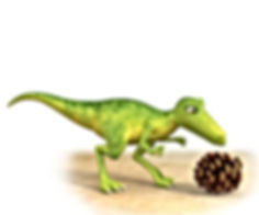 Dinosaur Squeak looking at a fur cone