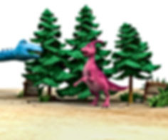 Dinosaur Honk and Dinosaur Munch by trees