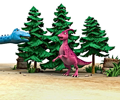 Dinosaur Honk and Dinosaur Munch by trees