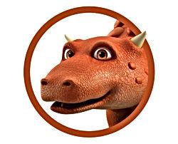 Dinosaur Bash in circle graphic