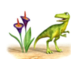Dinosaur Squeak standing next to purple flowers