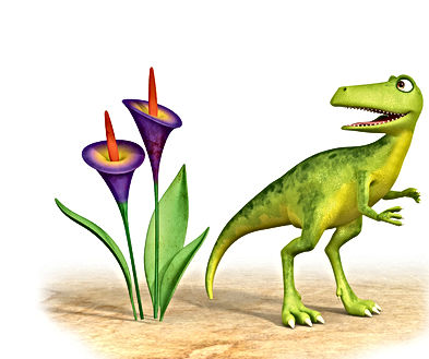 Dinosaur Squeak standing next to purple flowers