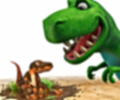 Dinosaur Roar looking at Dinosaur Boo who is covered in mud