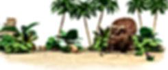 Dinosaur Stomp standing under trees