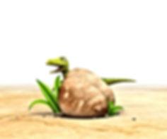 Dinosaur Squeak behind a rock