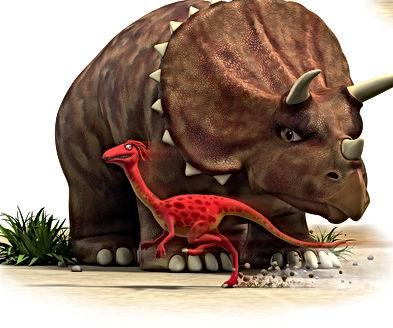 Dinosaur Whizz runs in front of Dinosaur Stomp