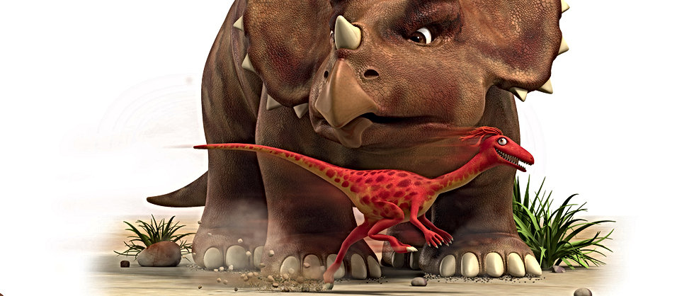 Dinosaur Whizz runs passed Dinosaur Stomp
