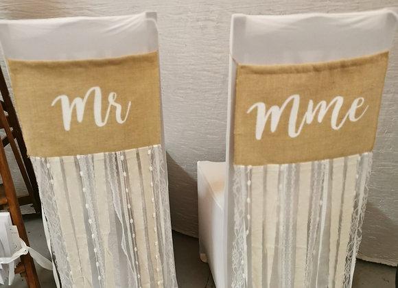 Dos de chaises de mariés