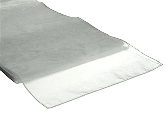 chemin de table organza gris