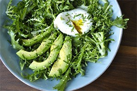 Breakfast Salad with Poached Egg