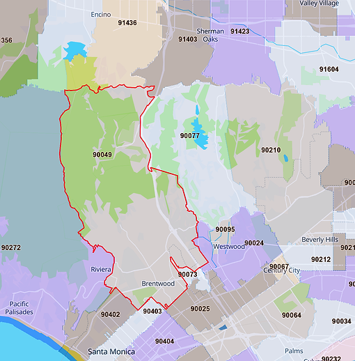 Brentwood Los Angeles 90049 Map