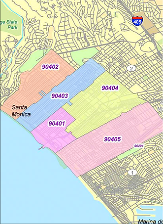Santa Monica Map by Zip Codes