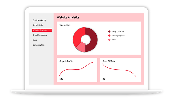 Website Analytics, Market reseach graphic in red and black