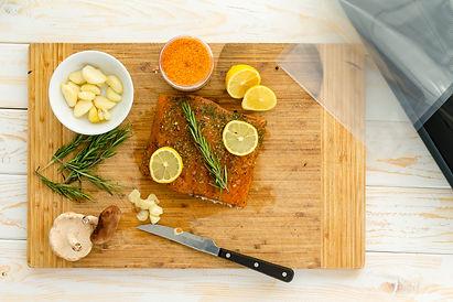 Preparing salmon for sous vide dinner wi