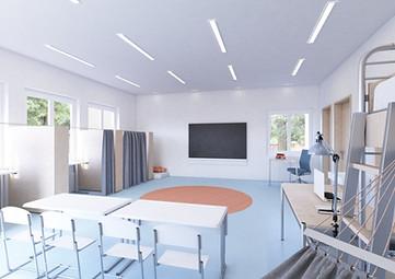Visualisierung Innenraum Klassenzimmer