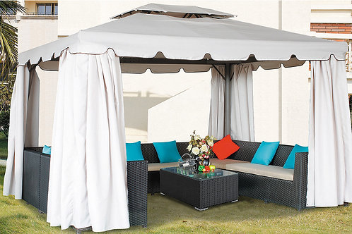 Delux Double Layer Gazebo with UV Protect/Curtains