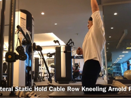 Unilateral Static Hold Cable Row Kneeling Arnold Press