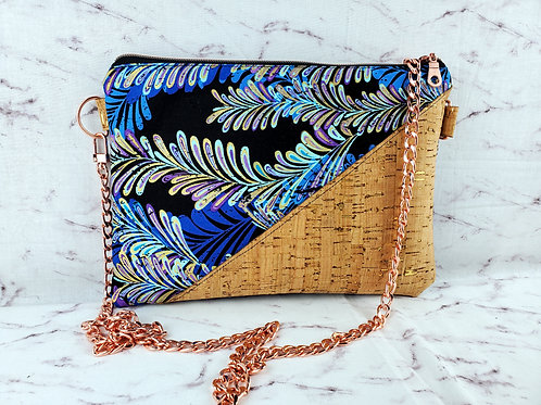 Blue Feather Chain Purse