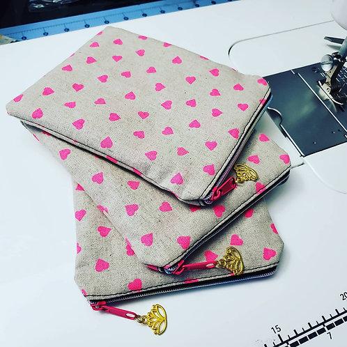 Neon Hearts Mini Pouch