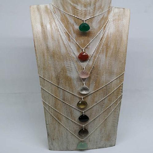 Colliers argent  et pierres, labradorite, pierre de lune, péridot...