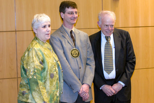 Paul and Cynthia with Bill Gropp at the Paul and Cynthia Saylor Professorship investiture ceremony at the University of Illinois, 2008.