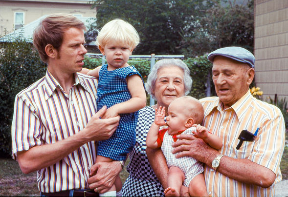 Paul with sons Gerrit and Gerard along with mother-in-law, Betty, and paternal grandfather, Eugene.  Marshalltown, Iowa, 1971.