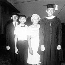 Paul with brother Doyle and parents, Clyde and Myrtis.  University of Texas graduation, Austin, TX, 1963.